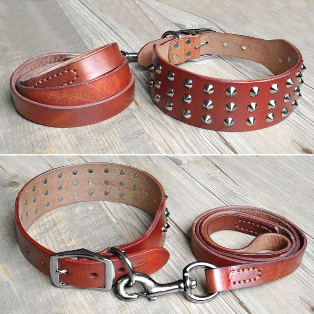 Cool Studded Genuine Leather Dog Collars