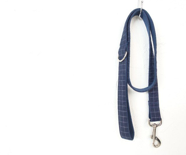 Blue Plaid Dog Collar and Leash Set