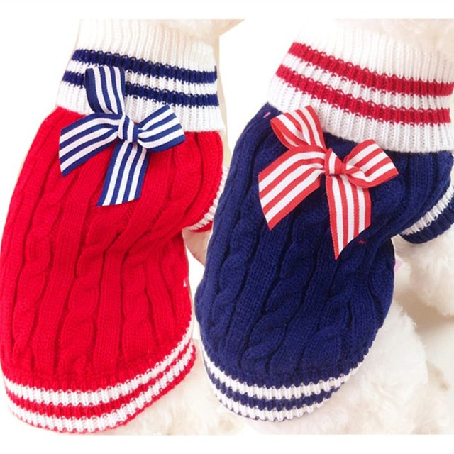 Warm Colorful Striped Knitted Dog's Sweater
